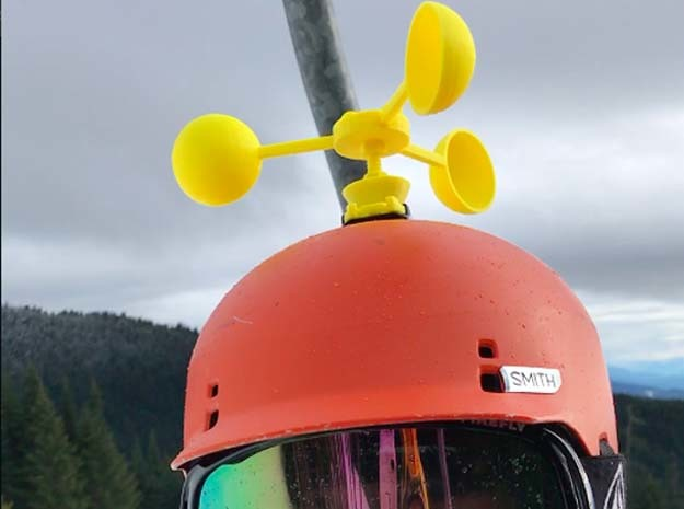 Edgy GoPro Anemometer in Yellow Processed Versatile Plastic