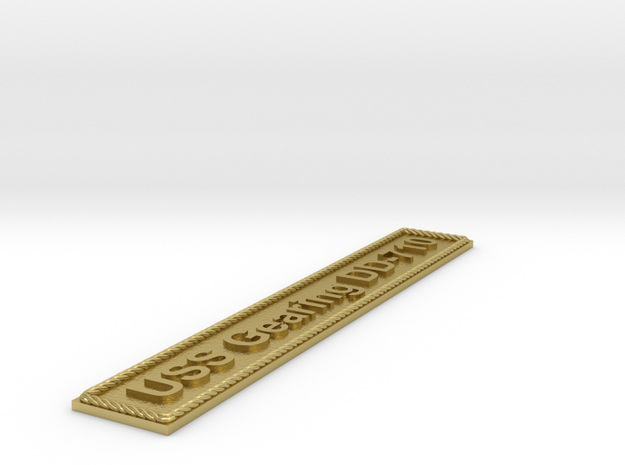 Nameplate USS Gearing DD-710 in Natural Brass