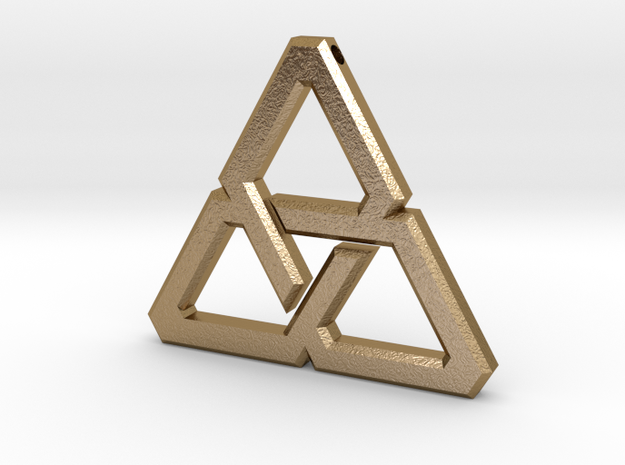 Celtic Triangle in Polished Gold Steel