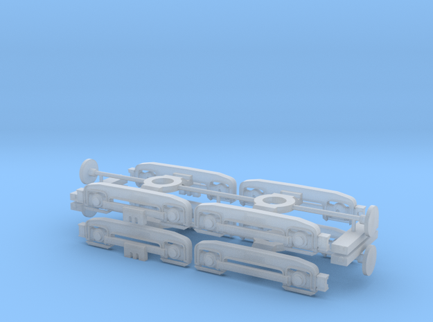 4x F/D Series Bogie-Standard - H0 Scale in Smooth Fine Detail Plastic