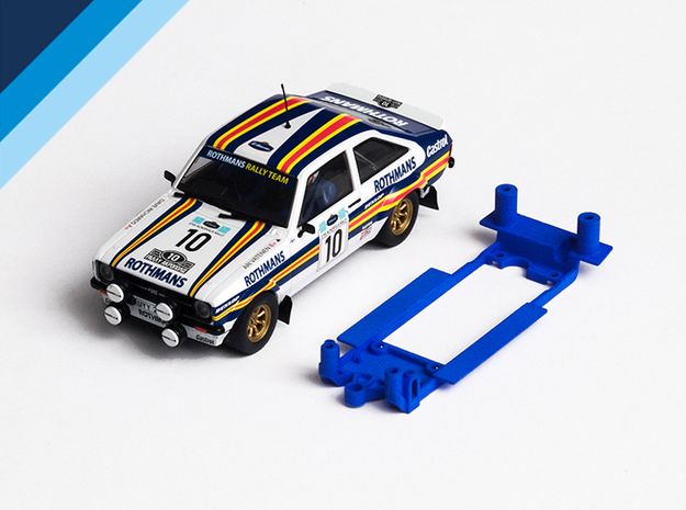 1/32 Scalextric Ford Escort Mk2 Chassis for IL pod in Blue Processed Versatile Plastic