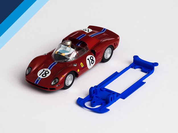 1/32 Carrera Ferrari 365 P2 Chassis for IL pod in Blue Processed Versatile Plastic