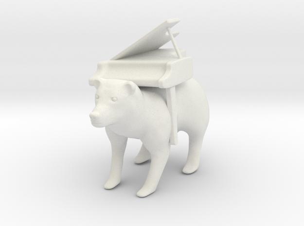 Piano Bear in White Natural Versatile Plastic