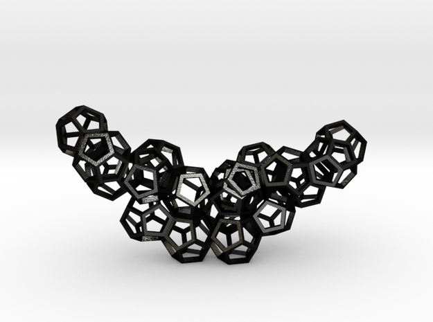 Dodecahedrons pendant in Matte Black Steel