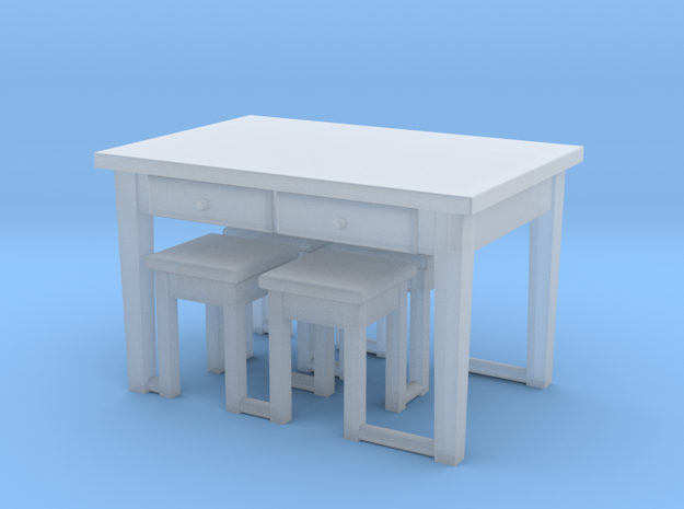 1:144 Scale Kitchen Table & 4 Stools