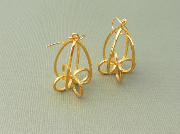 Finials - Pair of Earrings in Metal in 18k Gold Plated Brass