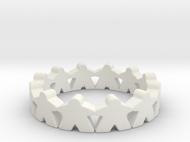 Meeple Ring Size 7 in White Strong & Flexible