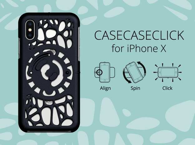 for iPhone X : geo : CASECASE CLICK in Black Natural Versatile Plastic
