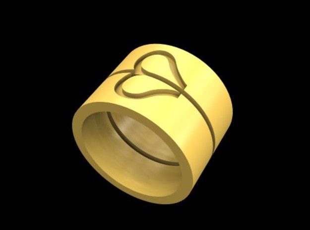 Heartring (various sizes) in Polished Gold Steel