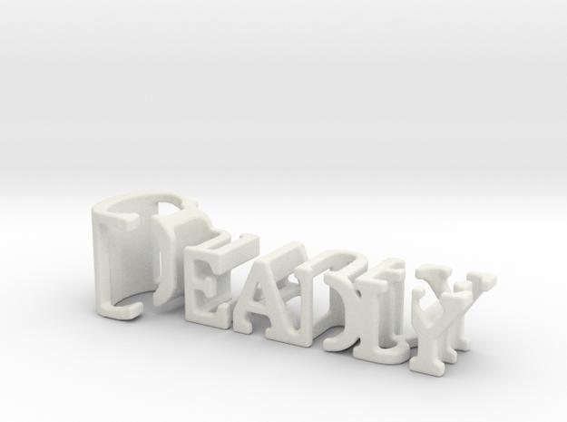 3dWordFlip: Deadly/Culture  in White Natural Versatile Plastic