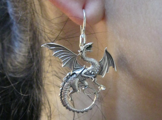Whitby-wyrm dragon earrings in Natural Silver