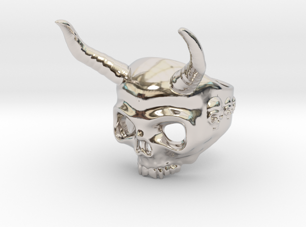 Ring Skull n9 in Rhodium Plated Brass