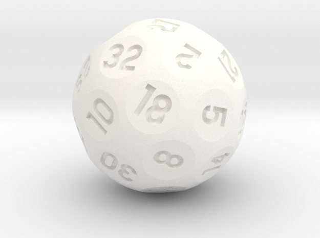 d32 Sphere Dice in White Processed Versatile Plastic