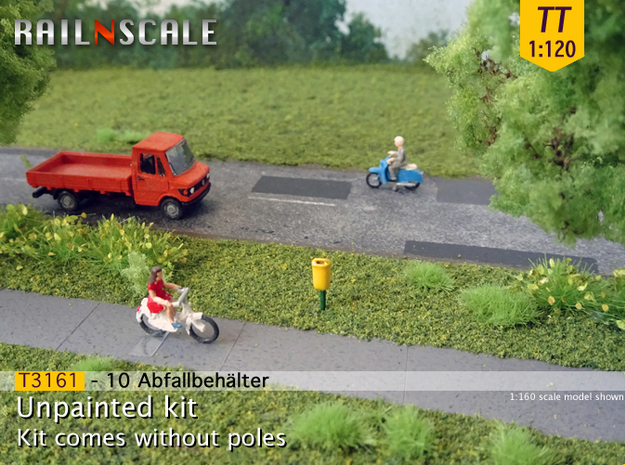 10 Abfallbehälter (TT 1:120) in Smooth Fine Detail Plastic