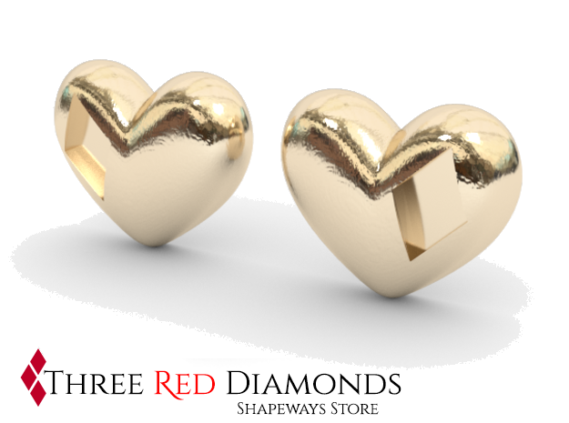 Diamond Kissed Heart Earrings (front pieces only) in White Natural Versatile Plastic: Small