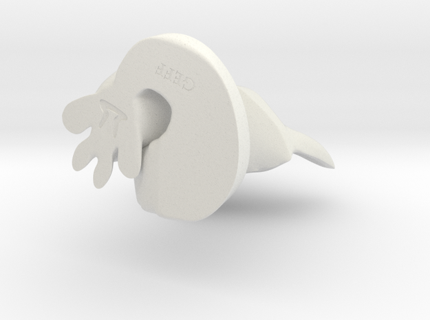 Geff the Fox in White Natural Versatile Plastic