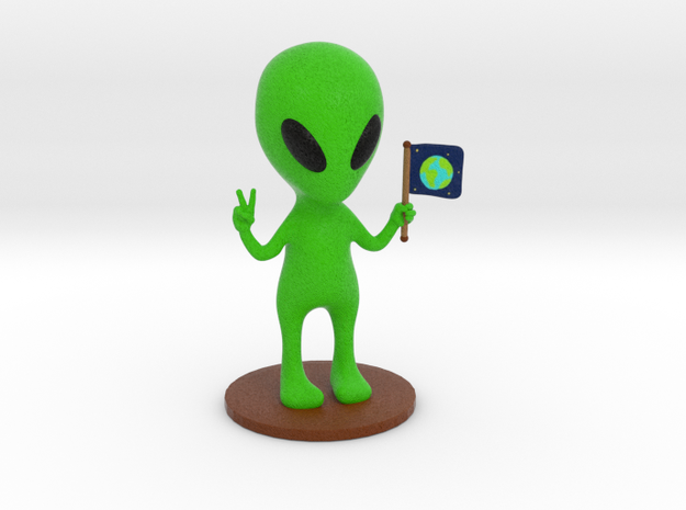 Alien doing peace sign sculpture - (9.5cm tall)  in Full Color Sandstone