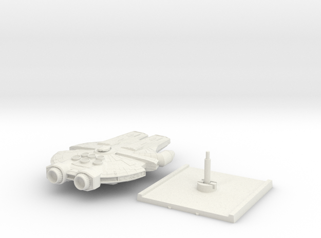 YT-90 Heavy Freighter with base in White Natural Versatile Plastic