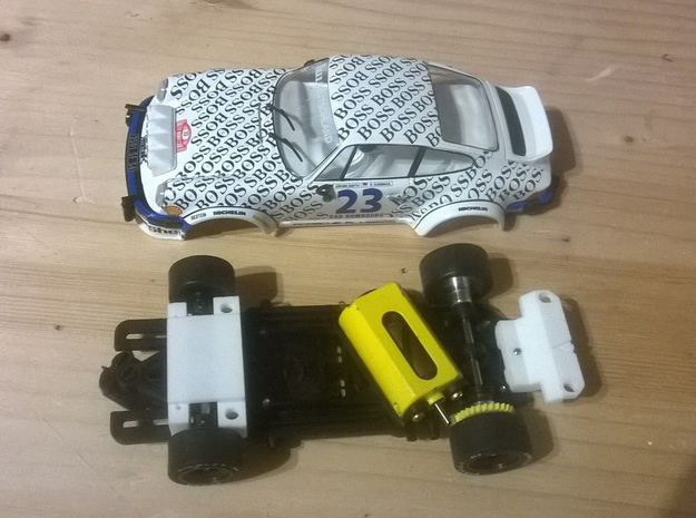 Adap. Fly Porsche 911 Slot.it HRS-2 Chassis in White Natural Versatile Plastic