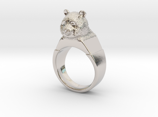 Ring Panda in Rhodium Plated Brass