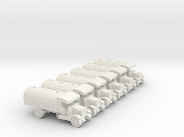 WWI Truck Tanker x6 in White Natural Versatile Plastic