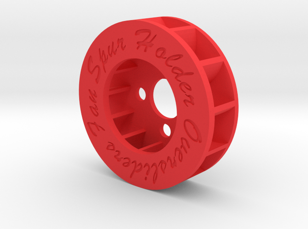 FAN SPUR HOLDER (CLOCKWISE ROTATION) in Red Processed Versatile Plastic