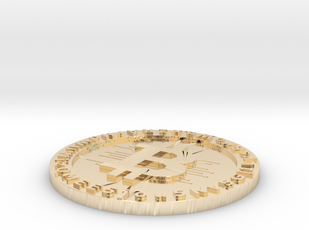 Customizable Printed Bitcoin Wallet in 14k Gold Plated Brass