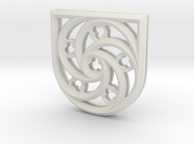 28mm French Gothic Window Quatrefoil in White Natural Versatile Plastic