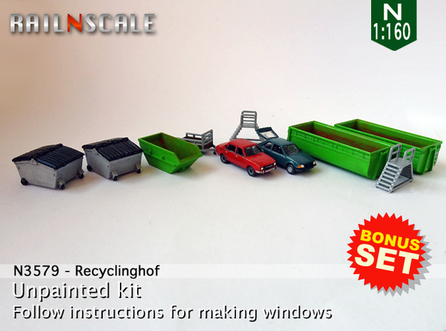 BONUS SET Recyclinghof (N 1:160)  in Smooth Fine Detail Plastic