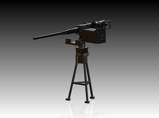 Single Modern 50 Cal Browning on Tripod 1/25 in Smooth Fine Detail Plastic