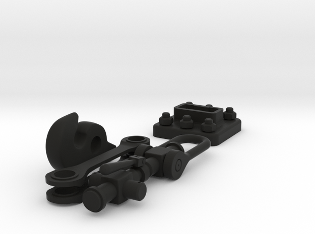 Coat hook - railway coupling in Black Natural Versatile Plastic
