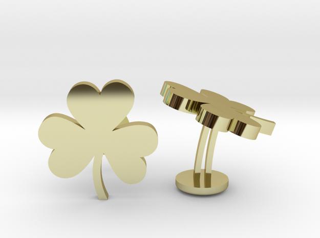 Shamrock 3 Leaf Clover Lucky Wedding Cufflinks in 18k Gold Plated Brass