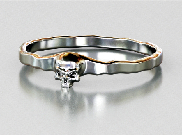 Small Skull Ring in Polished Silver