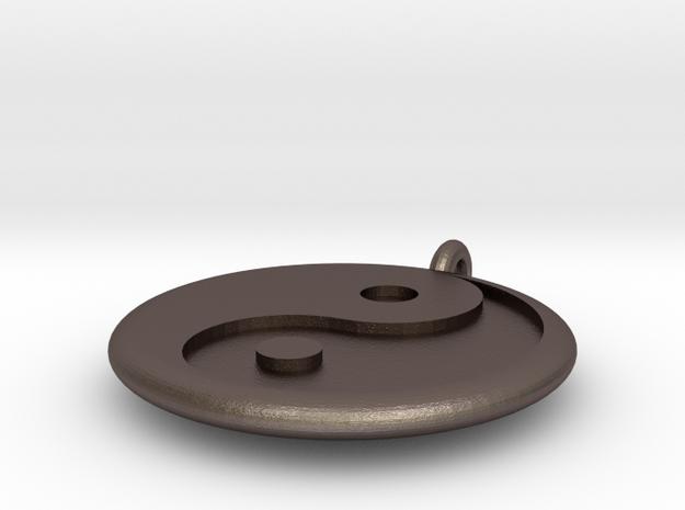Yin Yang Pendant in Polished Bronzed Silver Steel
