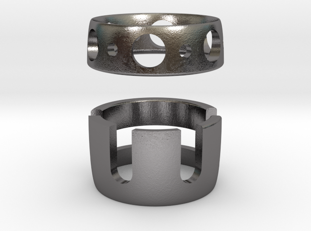 Forget me not ring final (half Fillet) (thin versi in Polished Nickel Steel
