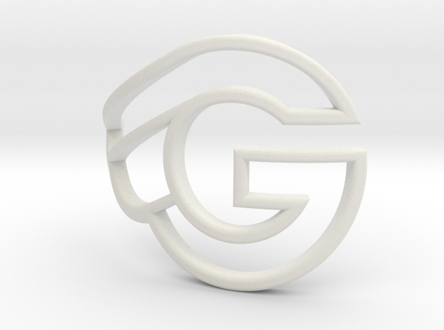 G-bicycle front logo - height 27mm - diameter 42mm in White Strong & Flexible