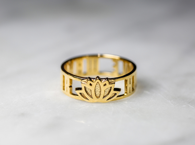 Humble Warrior w/ Lotus Flower, 14k Gold Plated in 14k Gold Plated Brass: 7 / 54