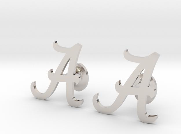 Alabama Cufflinks, Customizable in Rhodium Plated Brass
