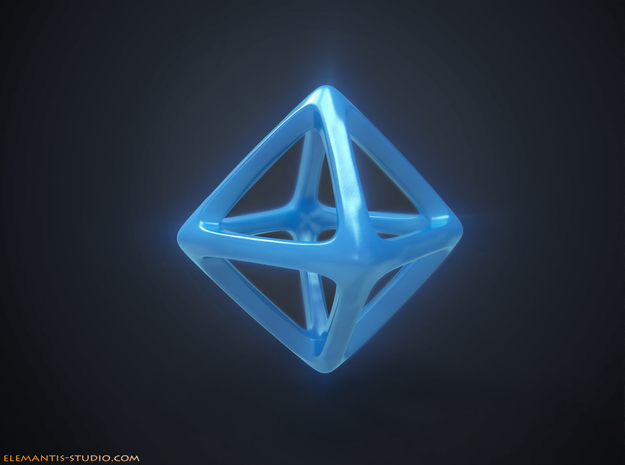 Octahedron Platonic Solid in Blue Strong & Flexible Polished