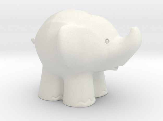 Cute Elephant in White Natural Versatile Plastic: Extra Small