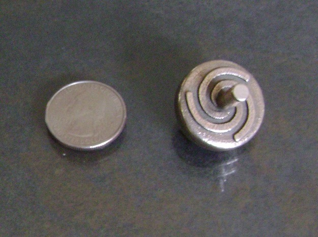 Spinning Top in Polished Bronzed Silver Steel