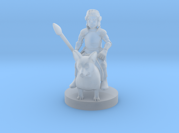 Halfling Cavalier with Corgi in Smooth Fine Detail Plastic