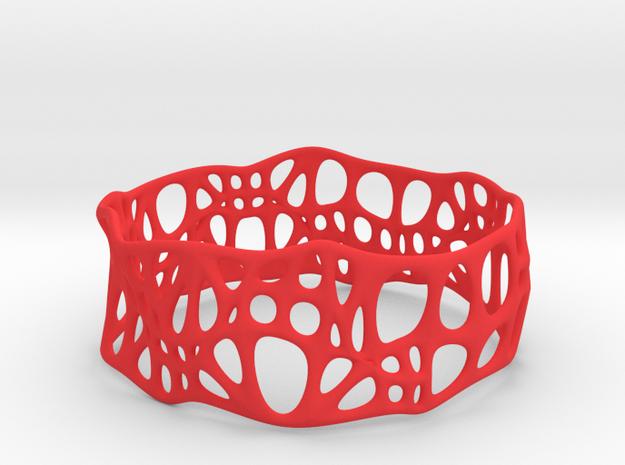 Voronoi Dodecagonal Bracelet 30mm (003) in Red Processed Versatile Plastic