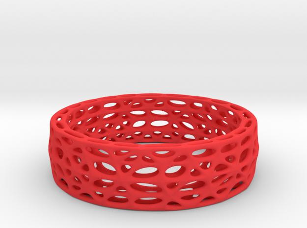 Voronoi Bracelet (002) in Red Processed Versatile Plastic