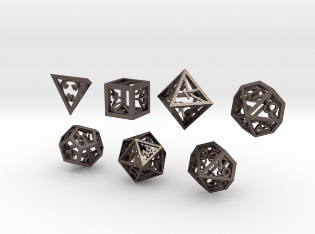 Open Hollow Polyhedral Dice Set in Polished Bronzed Silver Steel