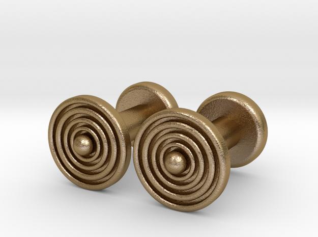 Geometric, Minimalistic Men's Circular Cufflinks in Polished Gold Steel