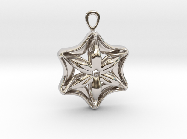 """""""In full bloom"""" Pendant in Rhodium Plated Brass"""