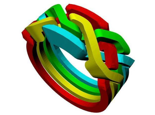 Holistic Ring metal 3d printed Weave pattern