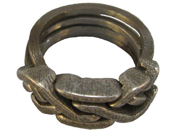 Holistic Ring interlocking metal 3d printed Holistic Ring