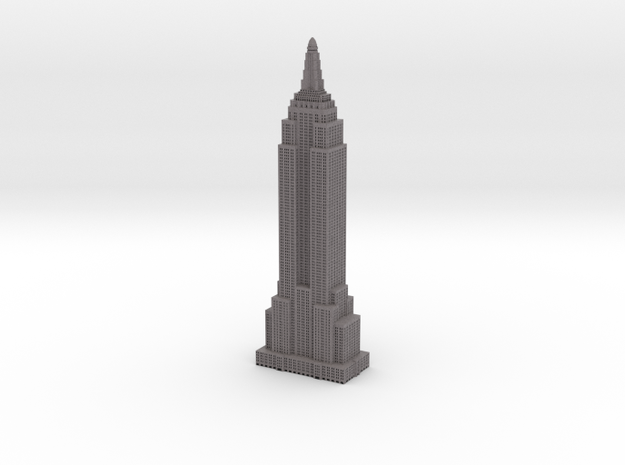 Empire State Building - Gray w Black Windows in Full Color Sandstone